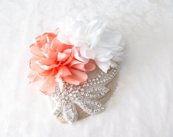 Bridal Hat  / Rhinestone Fascinator / Mini Bridal Hat / Garden Bridal Hat - Made to Order