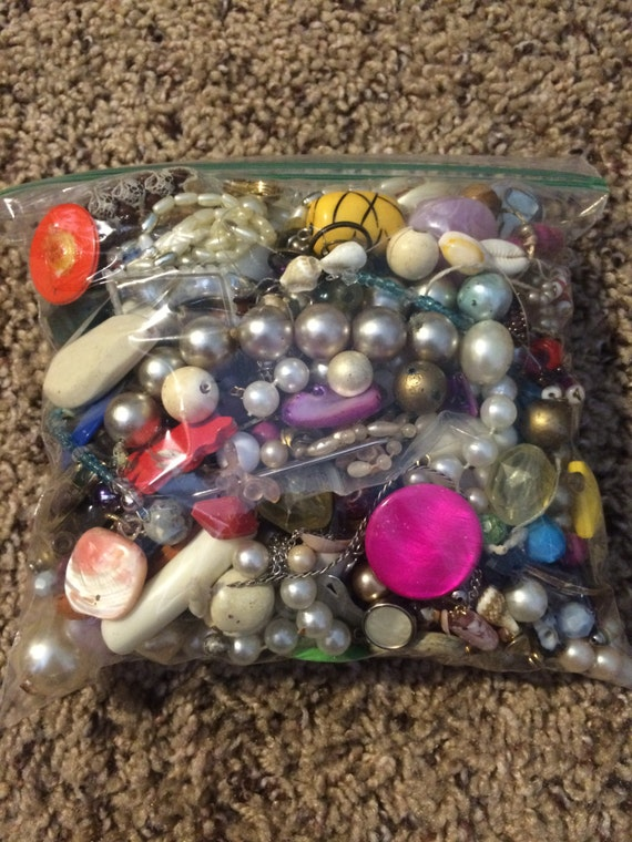 1 pound junk jewelry broken craft lot earrings findings beads