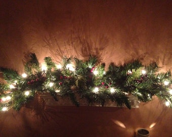 christmas garland pine cone mantle garland red berry garland mantle garland shelf - Christmas Swag Lights