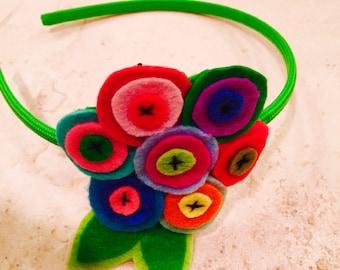 Multi blossoms felt stitched headband