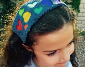Rainbow heart 2-dimensional headband