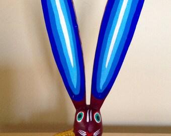 Rabbit alebrije from Oaxaca, Mexico - Mexican bunny wood carving - Oaxacan folk art