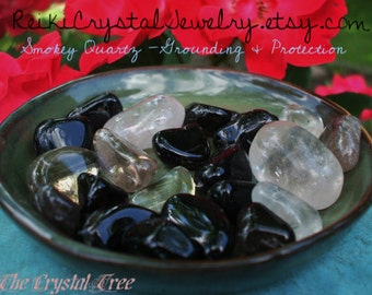 Set of 4 Small Smokey Quartz Crystals - Tumbled Gemstones, Reiki charged, Root Chakra, Grounding, Mama Earth, Healing, Metaphysical, New Age