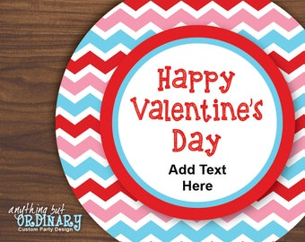 Happy Valentine's Day Editable Tags in Red, Pink and Blue Chevron, Circle Labels, Mason Jar Labels, INSTANT DOWNLOAD, digital printable file