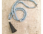 Light blue mala beads with pearl nuggets. Mala beads. Tassel necklace.
