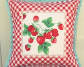 sweet vintage strawberry and red gingham pillow cover 16x16