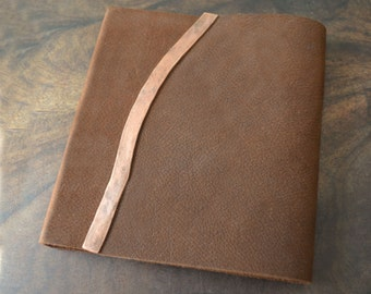 Handmade Bound Leather Journal Notebook THINLINE Diary Ready to Ship Sketchbook Art Journal Poetry Diary Leather Binding Copper (526)