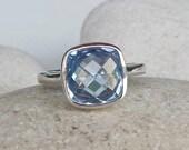 Cushion Blue Topaz Rings- Square Shaped Rings- Gemstone Rings- Anniversary Rings- December Birthstone Ring