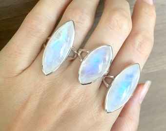 Marquise Rainbow Moonstone Ring- Large Moonstone Statement Sterling Silver Ring- June Birthstone Ring- Boho Gypsy Ring- Double Band Ring