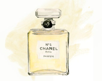 Chanel No 5, print from original watercolor and mixed media fashion illustration by Dena Cooper