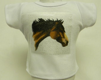 Quarter Horse Silver Glitter Transfer T-Shirt For 16 or 18 Inch Dolls Like The American Girl Or Bitty Baby