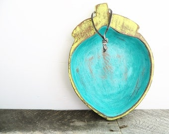 Huge Funky Painted Acorn - Turquoise and Yellow - Bright Wall Decor - Catch All Tray