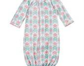 Monogrammed Pink Spring Garden Infant Gown- Baby Gift- Monogrammed Gift- Mud Pie