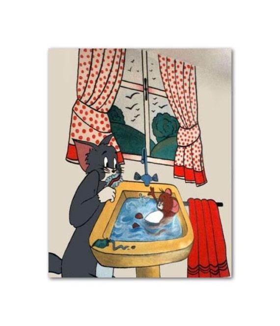 Disney Nursery Wall Decor : Items similar to kids bathroom wall art tom jerry