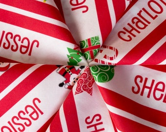 Personalised Name Fabric - Christmas Candy Cane Stripe 1 Yard