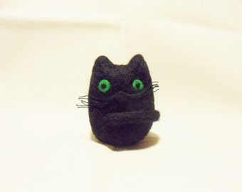 Needle Felted Cat -  miniature black cat figure - 100% merino wool - wool felt cat - needle felt animal - lucky black cat