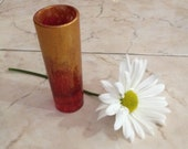 Art glass, Mini gold dipped glass vase, tiny sparkling glass, recycled glasses, red vase, pencil holder, gold glass painting