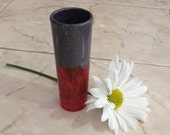 Tiny black and red glass vase, glass pen holder, recycled glasses, red vase, pencil holder, chalkboard glass, re purposed barware