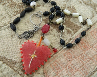 Assemblage Necklace Vintage Velvet Heart Rosary Chain Treasury Item