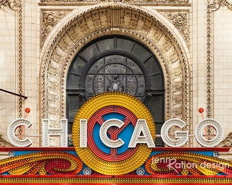 "Chicago Theatre Neon Sign, Chicago Photography, Theater Marquee 8""x10"" Photograph Print"