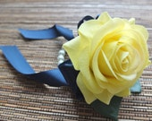 Wrist Corsage, Yellow Rose and Navy ribbon corsage, Yellow rose corsage on pearl bracelet