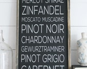 Wine Rustic Wood Sign (Black Background)