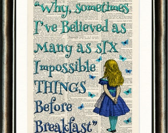 Alice in Wonderland Quote 3 Turquoise Upcycled vintage book page print on a late 1800s Dictionary page Buy 3 get 1 FREE