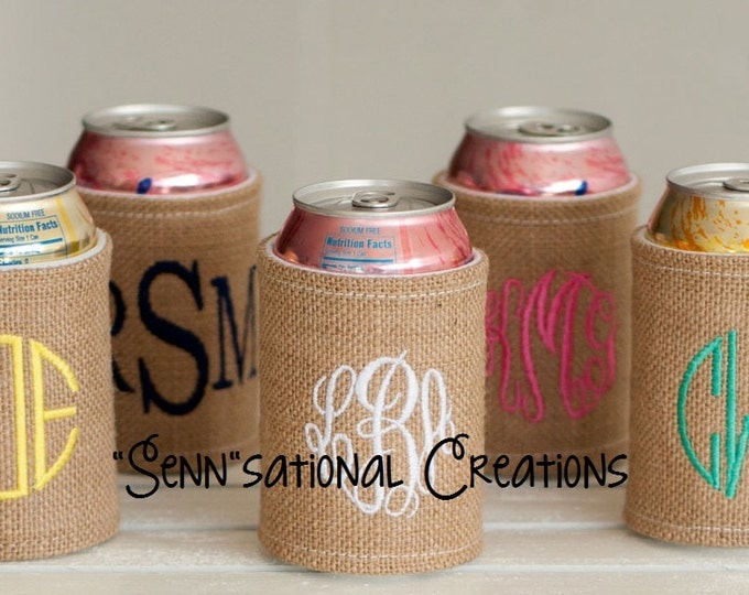 Burlap Can Cover, Can Cover, Monogrammed Can Cover, Burlap, Drink Cover, Monogrammed Drink