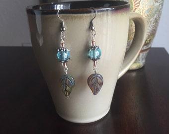 Amber and blue czech glass earrings