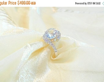 20% OFF Back2SchoolSale Diamond-Clear White Topaz Ring or Engagement Ring Handmade Jewellery by NorthCoastCottage Jewelry