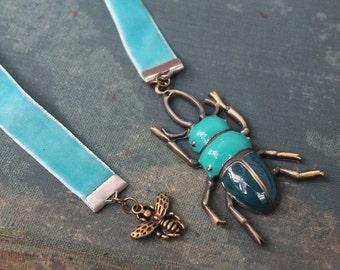 Velvet ribbon beetle bookmark-Handmade bookmark-nature-beetle book decor-ready to shi