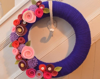 Yarn Wreath - VALENTINE'S DAY  - 12 inch Purple Yarn Covered Straw Wreath with felt Flowers and Button Accents