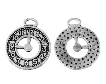 10 Pieces Antique Silver Clock Charms, 25 x 21mm