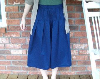Girls Culottes Modest Long Split Skirt Navy Blue