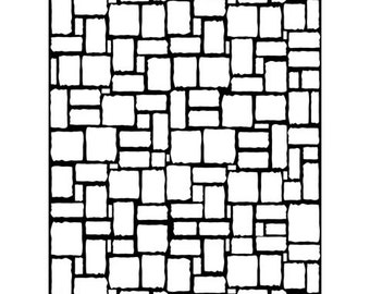 BRICK WALL PATTERN -  EMBOSsING FoLDeR - A2 by Darice - Stone Wall - Irregular Bricks