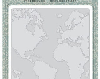 "WORLD MAP - EMBOSSiNG FOLDeR by Carta Bella -  5"" x 5.875""   - Old World Travel"
