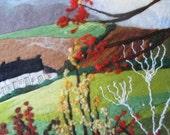 textile art, felt painting, wet felted, Autumn landscape, 20 x 16 inches