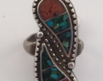 "Vintage Navajo Sterling Chip Inlay almost 1 1/2"" tall Paisley Ring sz 6.75"