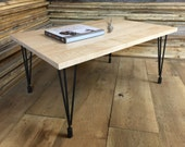 QUICK SHIP-Modern contemporary wood & steel coffee table featuring tiger maple top with hairpin legs.