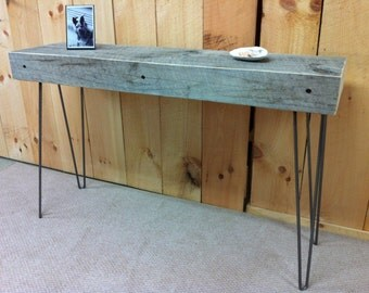 QUICK SHIP-Weathered barnwood console table, sofa table or entry table with steel hairpin legs.