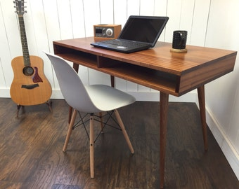 Boxer mid century modern desk with storage, featuring sapele mahogany and tapered spindle legs.