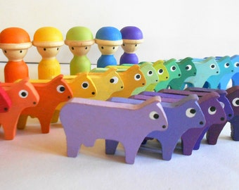 Montessori wood color sorting,  color matching, counting cow and farmer toy learning game farm toy wooden cows kids wood toy