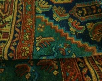 Antique Kazak rug fragments textile pieces Persian rug carpet teal rust nutmeg