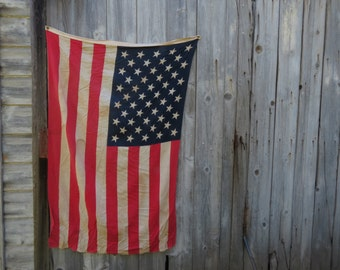 Vintage Cotton 50 Star American Flag - Old American Flag - Patriotic Decor - Old Flag - Vintage American Flag