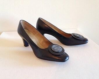 SALE! Vintage Mid Century Black Heels Pumps Shoes Mad Men Size 6 Near Mint