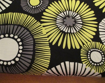 Quilting Weight Cotton Fabric Straw Daisy by Michael Miller in black, white, lime 1 yard