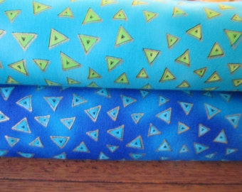 Quilting Weight Cotton Fabric by Laurel Burch Basic Triangles 2 yard bundle