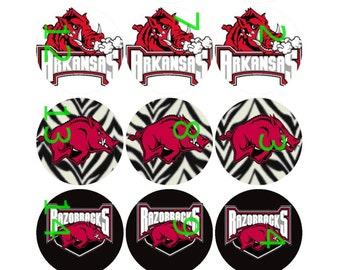 "1"" Bottle Cap Images-University of Arkansas"