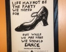 Poster. Dance Shoe and letter block prints by Jesse Larsen.  8x10.  Ready to mat & frame. Typographical art. .