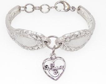 Satin Finish Floral Spoon Bracelet Grandma Sterling Silver Heart Charm